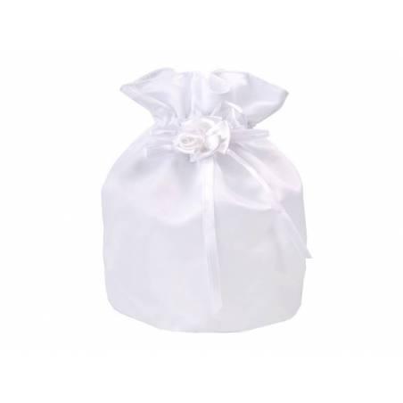 Pochette en satin pour centimes blanc