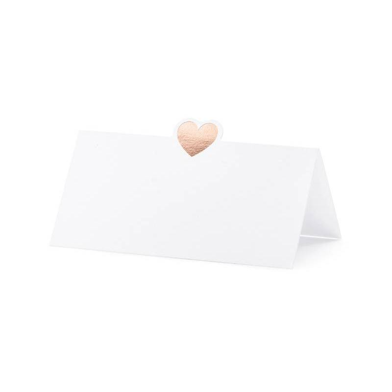 Cartes de placement - Coeur or rose 10x5cm