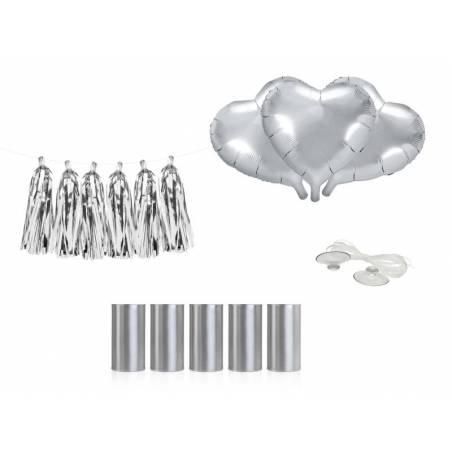 Kit de décoration de voiture - Coeurs argent