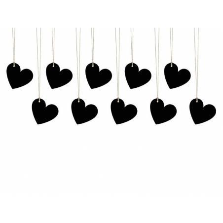 Coeurs en papier noir 5 x 45 cm