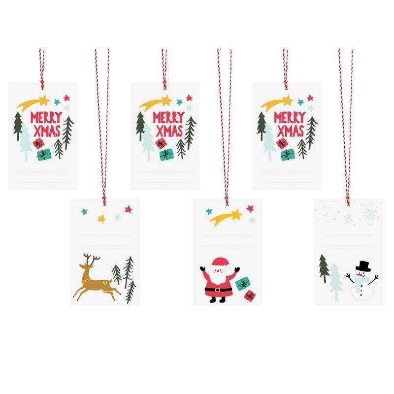 Etiquettes cadeaux Joyeux Noël mélange 5.5x8.5cm