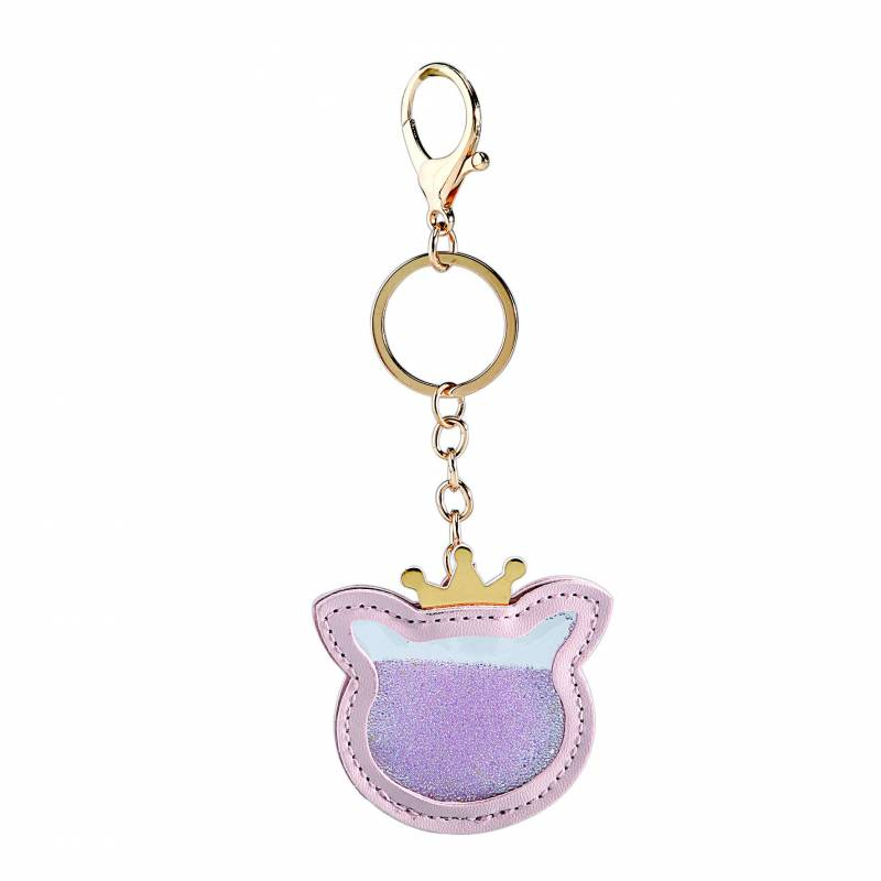 Chat rose porte-clefs 6x6cm + chaine