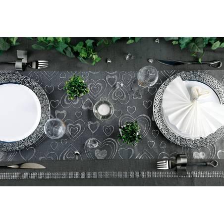 CHEMIN DE TABLE COEURS ARGENT 30CMX5MT