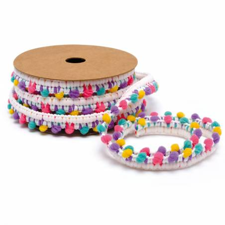 Ruban pompons multicolores 12mmx5mt