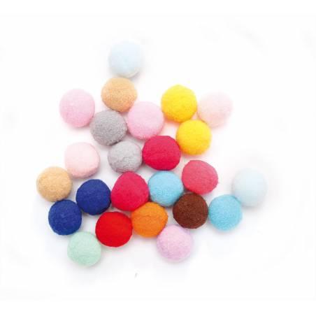 24 pompons multicolores d2cm