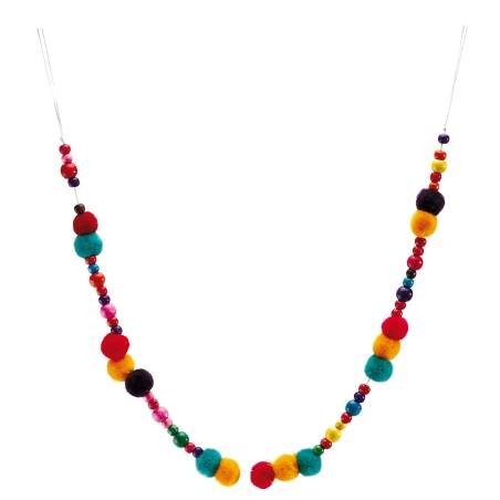 Guirlande pompons multicolores d2x55cm