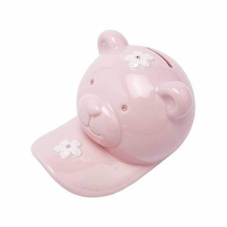 Ourson casquette tirelire rose 12,5x8h7,5cm