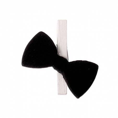 6 clips noeuds papillons noir h2,5cm