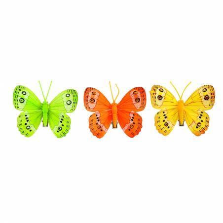 6 papillons sur clip 3ass jaune/vert/orange 8x6cm