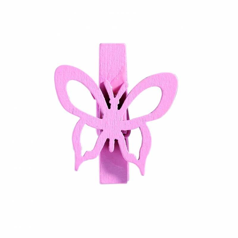 8 clips papillons rose/vert 2ass 3h3,5cm