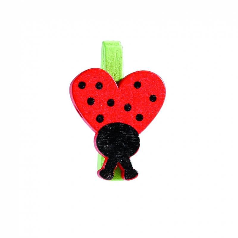 10 clips coccinelle rouge 1,5h2,5cm