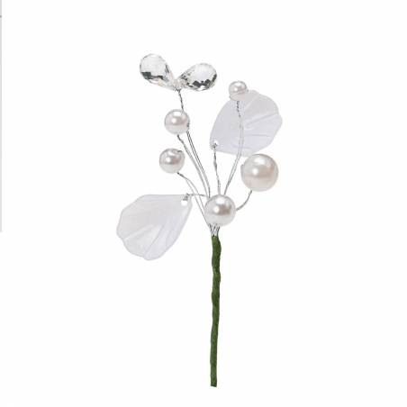 Bijoux perles blancs h6,5cm + tige
