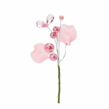 Bijoux perles rose h6,5cm + tige