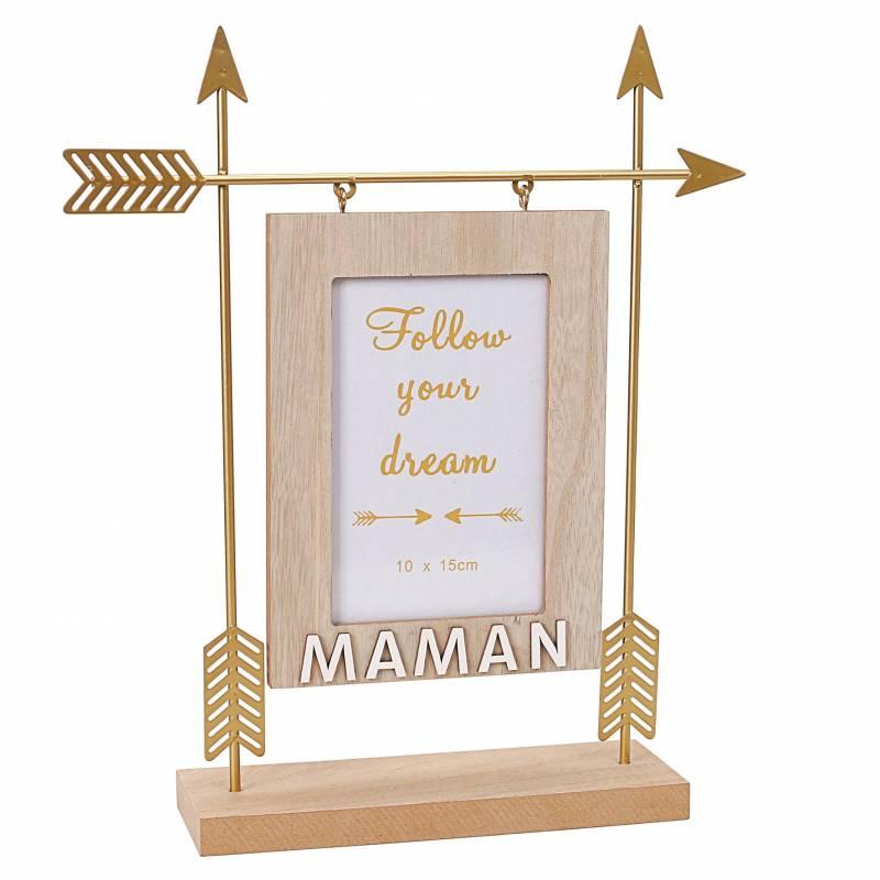 Cadre fleche or maman 27x7h32cm