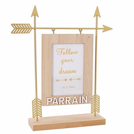 Cadre fleche or parrain 27x7h32cm
