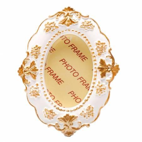Cadre vintage ovale bord fleurs or 6.5h8.5cm
