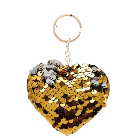 Coeur porte-clefs sequin or/argent 8h7cm