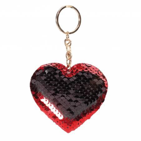 Coeur porte-clefs sequin rouge/noir 8h7cm