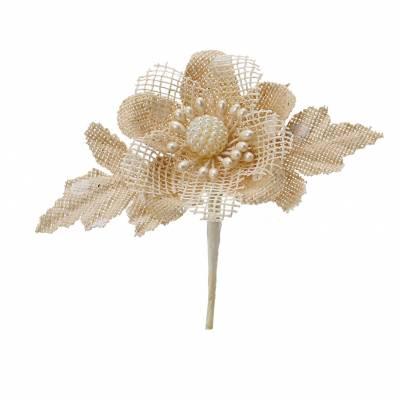 Fleur jute perles d5cm + tige