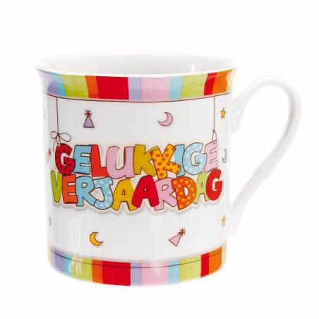 """Mug """"gelukkige verjaardag"""" d8,5h8,5cm"""