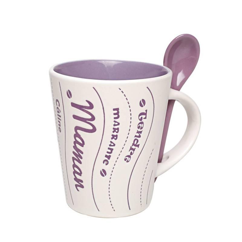 Mug maman lilas avec cuillere d9h10,5cm