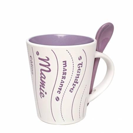 Mug mamie lilas avec cuillere d9h10,5cm