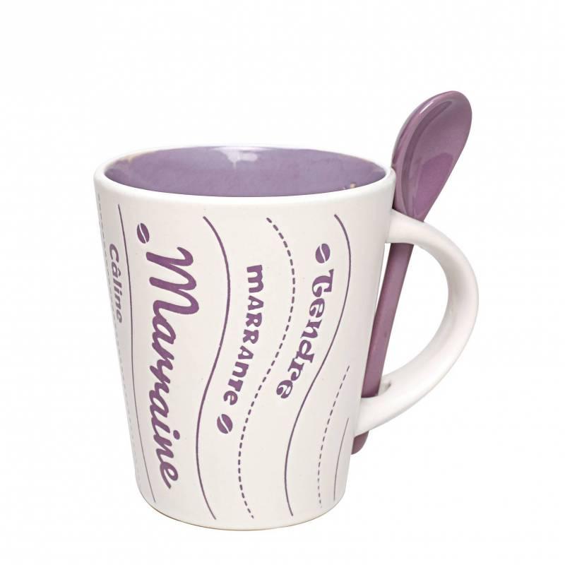 Mug marraine lilas avec cuillere d9h10,5cm