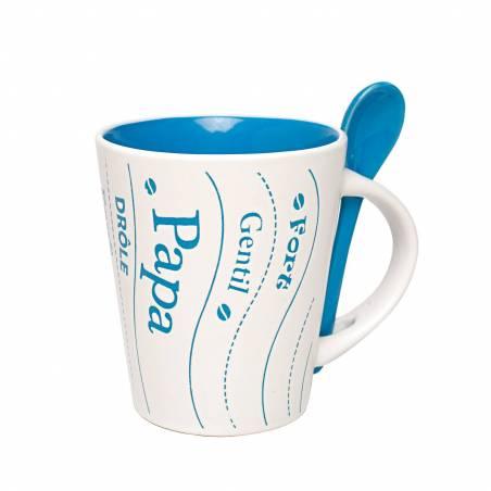 Mug papa bleu avec cuillere d9h10,5cm