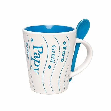 Mug papy bleu avec cuillere d9h10,5cm