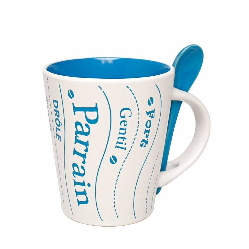Mug parrain bleu avec cuillere d9h10,5cm
