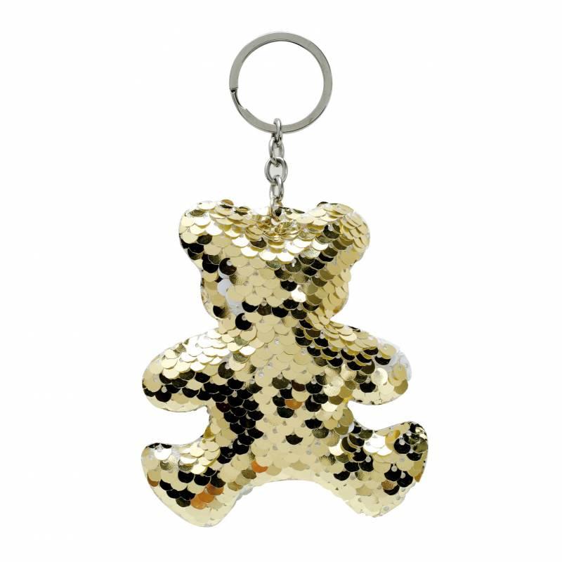 Ourson porte-clefs sequin or/argent 8h9cm