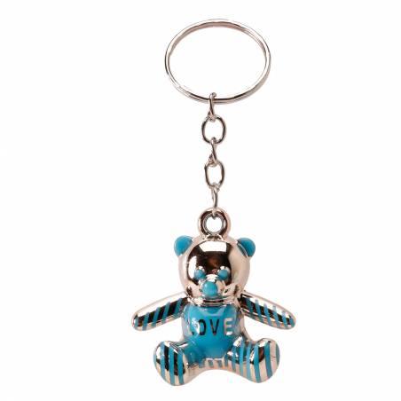 Porte-clefs ourson bleu 3,5h3,8cm