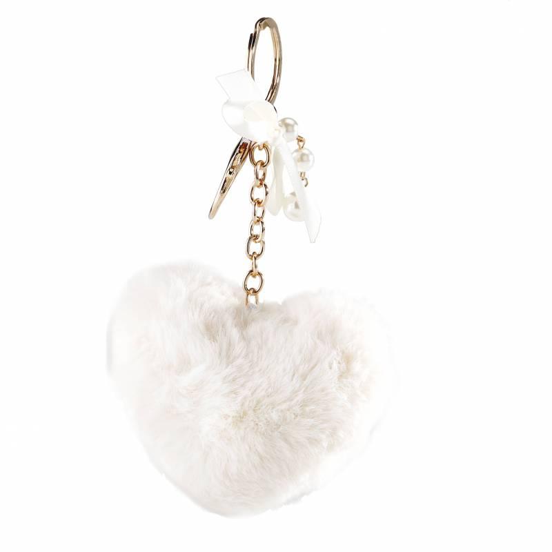 Porte-clefs pompon coeur blanc 9h7,5cm