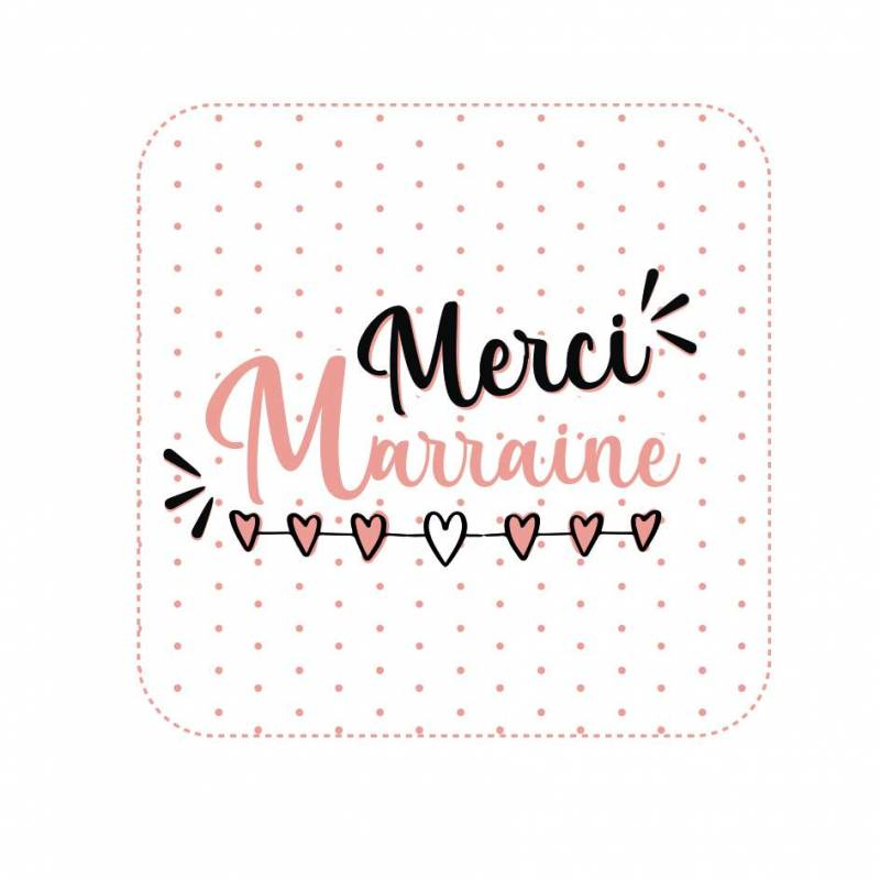 "Stickers np.""merci marraine"" 40pcs prix net 4x4cm"