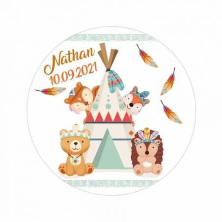 """Stickers np """"copains des bois""""60pcs pn d3,8cm"""