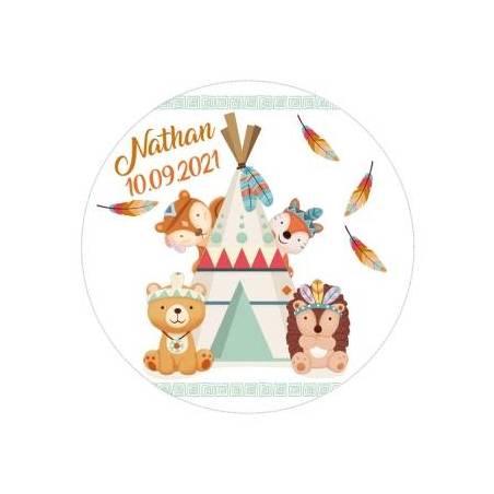 """Stickers np""""copains des bois""""20pcs pn d6cm"""
