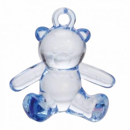 4 bijoux ourson bleu 3,5h3,5cm