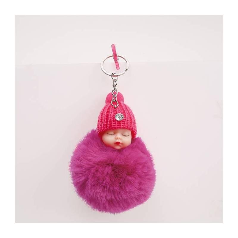 ruban gros grain parfum pompon rose porte clés