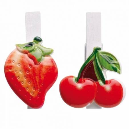 6 clips fruits (cerise/fraise) 3h4,5cm