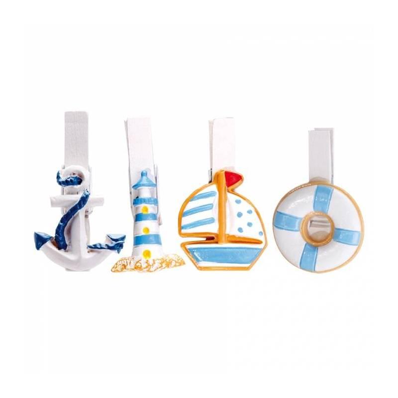 8 clips bateau/bouee/phare/ancre 4ass 2h4,5cm