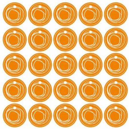 25 nominettes orange cercle blanc d3cm