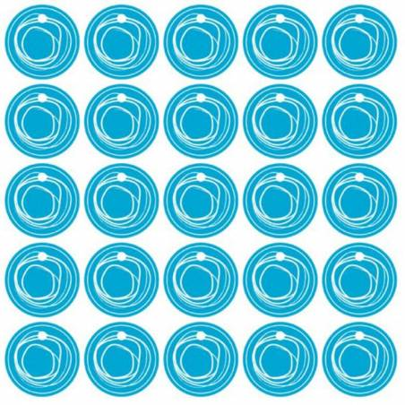 25 nominette turquoise cercle blanc d3cm