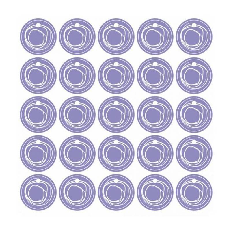25 nominettes lilas cercle blanc d3cm