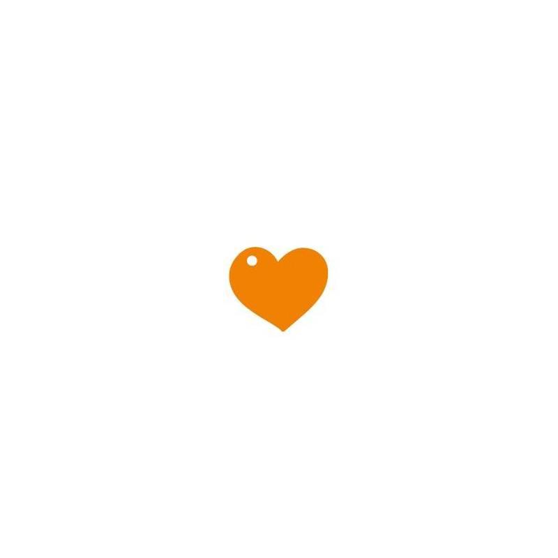 25 nominettes coeur orange 4cm