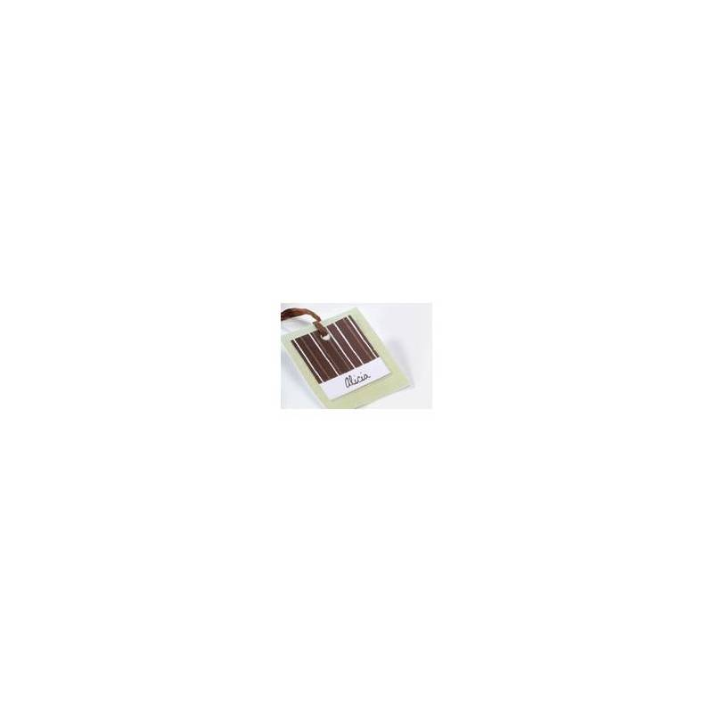 25 nominettes carrees marron 3x3cm