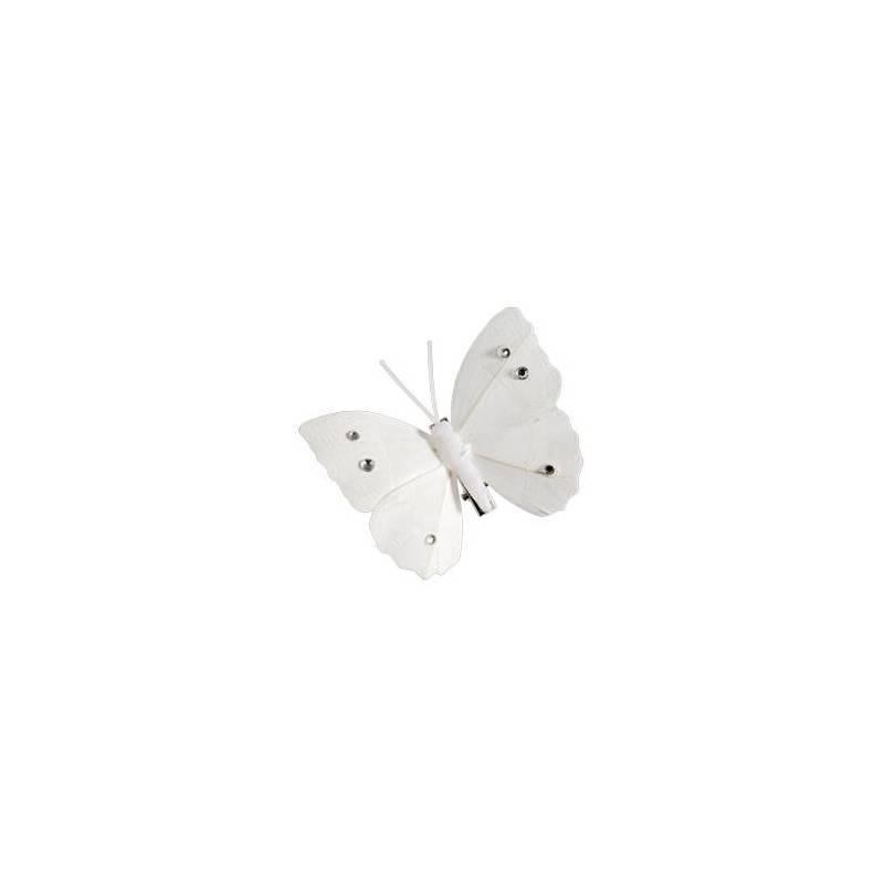 6 papillons sur clip blanc 8x6cm