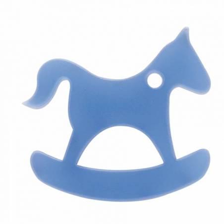 8 chevaux a bascule nominette bleu 4,8x4,6cm
