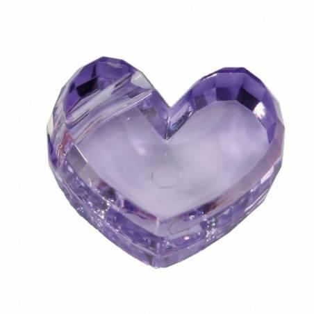 Bijoux coeur lilas 2,5h1,5cm
