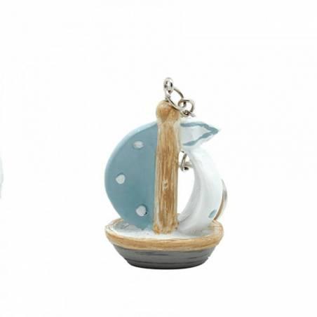 Bateau porte-clefs blc/bleu h5cm