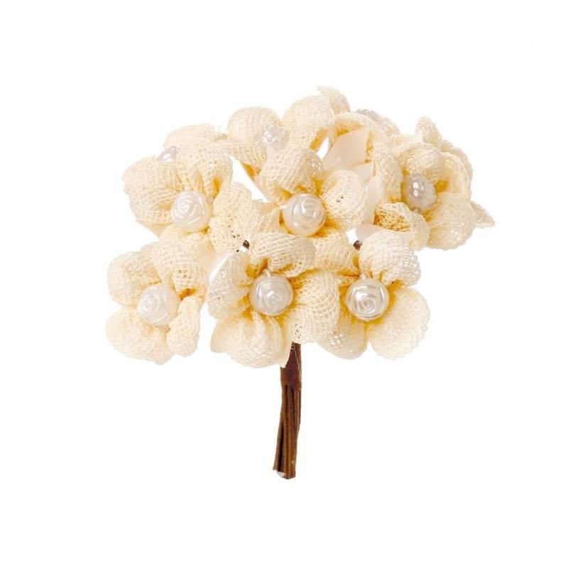 Fleurs dentelle perle écru d2cm + tige